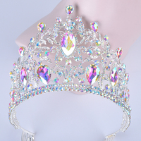 Luxury Vintage silver AB Wedding Crown Alloy Bridal Tiara Baroque Queen King Crown marquise Rhinestone half round Tiara comb