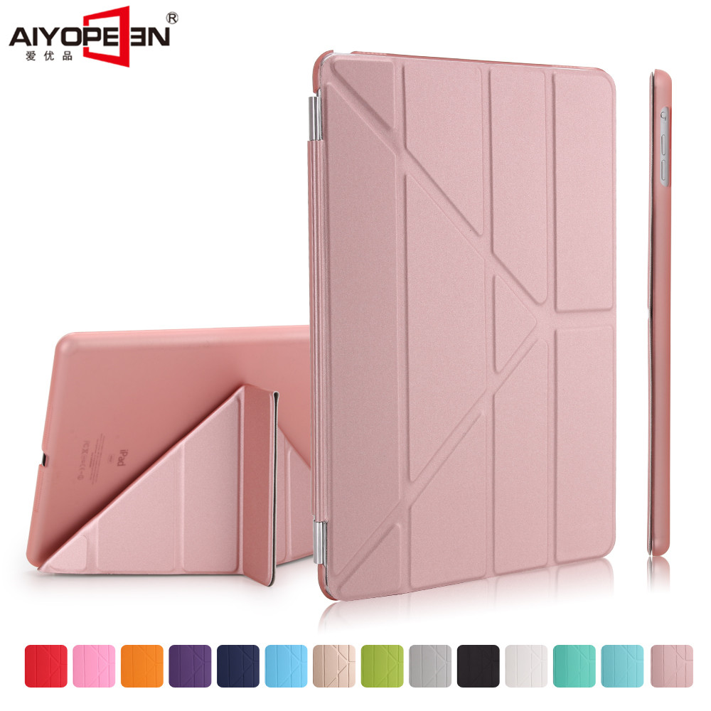 for ipad air 1 case,aiyopeen smart wake up sleep matte pc back +pu leather 11-fold ultra slim flip stand with small gift