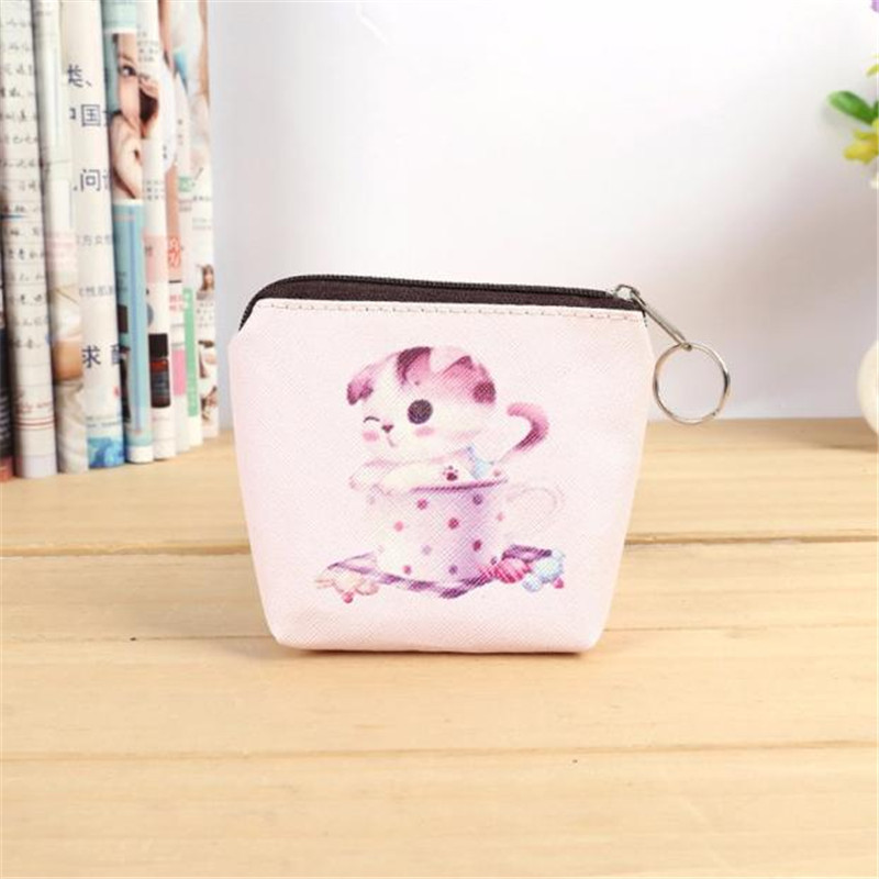 Cute Cat Women GirlS  Coin Purse Leather Zip Key Card Bag Lady small wallet pouch purse monederos para monedas xydyy new women pu leather zipper coin purse for kids cute owl small coin wallet pouch girls kawaii animal card key bag