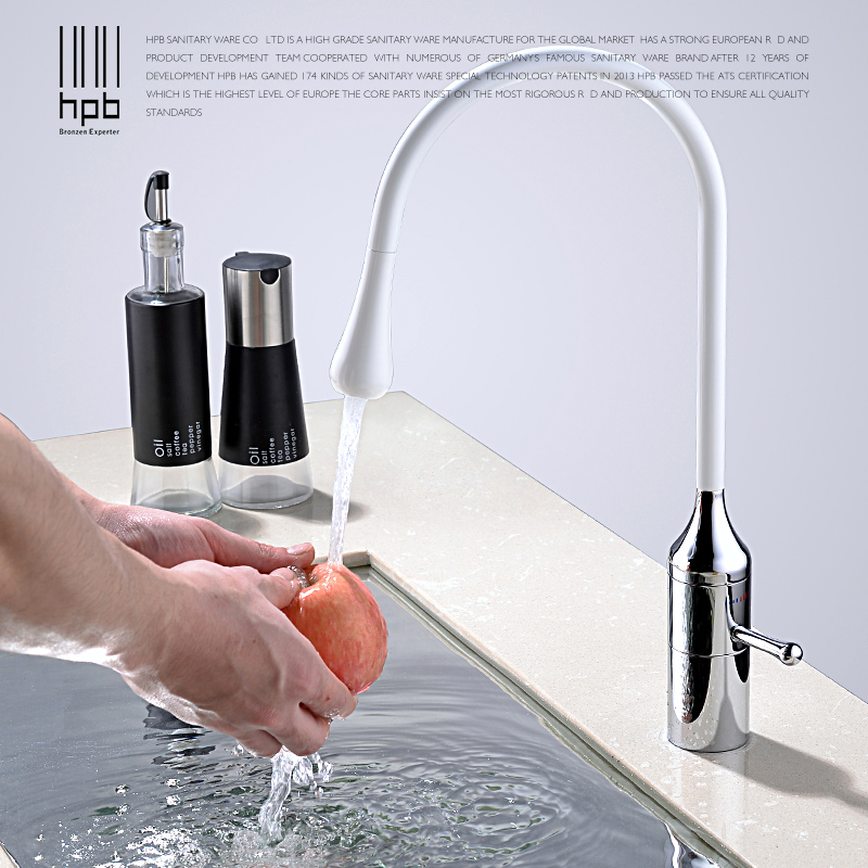 HPB Contemporary Style White Paint Kitchen Mixer Faucet Sink Tap Hot And Cold Water Single Handle Brass Chrome Finished IFD004 hpb square style bathroom basin faucet water tap chrome finished sink mixer single handle hot and cold deck mounted hp3040
