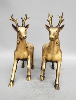 Collection collection archaize brass Sika deer statue A pair big