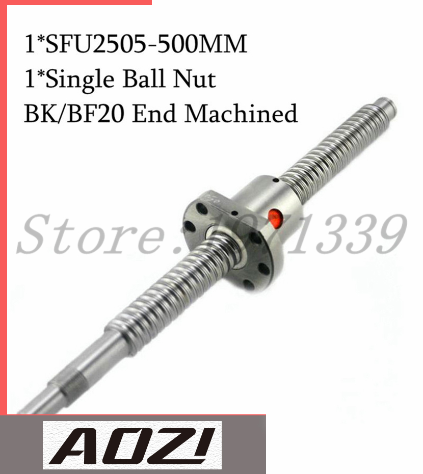 Ballscrew SFU2505 set : 1 pc SFU2505 Ball Screw - L500mm + 1 pc 2505 Ball Screw Nut For CNC Parts BF/BK20 End Machined CNC Part cnc machined rapid prototyping metal part custom made aluminum parts