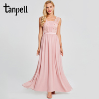 Tanpell Appliques Evening Dress Pink Scoop Sleeveless Floor Length A Line Gown Cheap Women Wedding Party