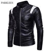 Patchwork Pu Leather Jacket Men 2017 Winter Mandarin Collar Motorcyle Jacket Veste Cuir Homme Zipper Casual Mens Jackets Coats