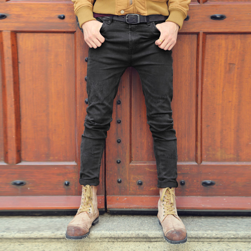 Black skinny   jeans   men solid denim ripped   jeans   for men new casual stretch man brand jeans100% Cotton pantalon homme   jeans   2018