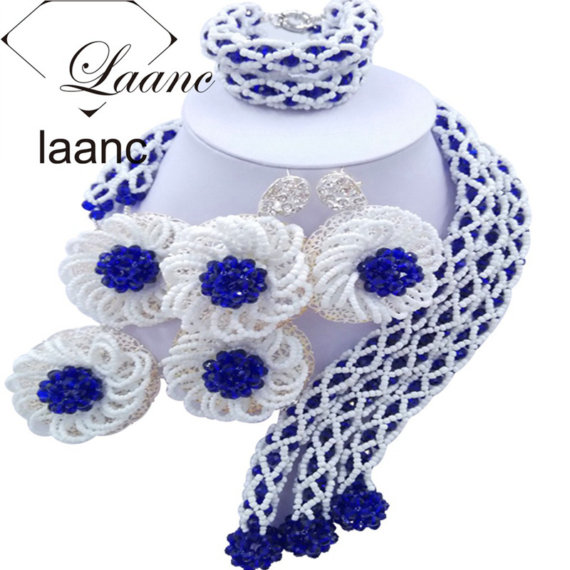 Laanc Fashion Royal Blue and White African Beads Jewelry Set for Women Nigerian Wedding Necklace FBFE017