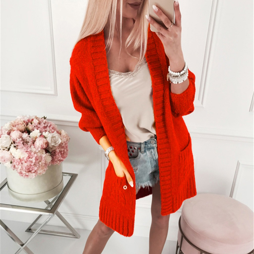 Women Sexy Knitwear Pocket Sweater Camisole Fashion Cardigan Smock Coat Top Long Clothing Length Acrylic O-Neck Collar Solid(China)
