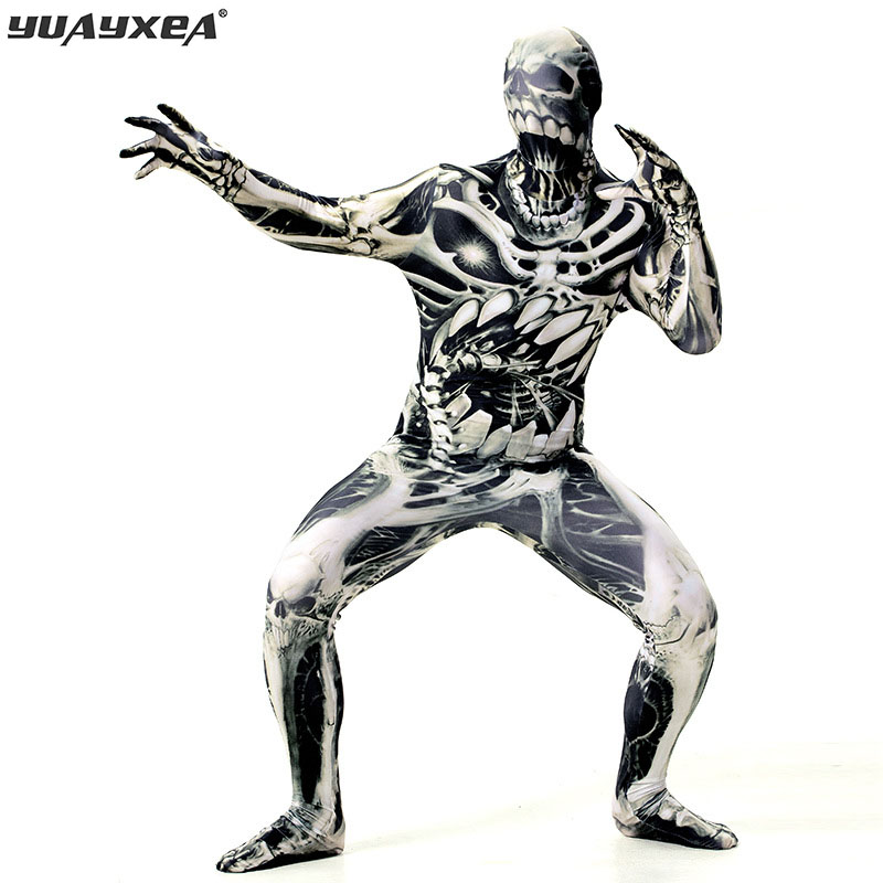 YUAYXEA <font><b>Halloween</b></font> Costumes For Horror Death Costume Masculinity <font><b>Sexy</b></font> Skull <font><b>Man</b></font> print Costume <font><b>Halloween</b></font> Clothes Jumpsuit M-XXL image