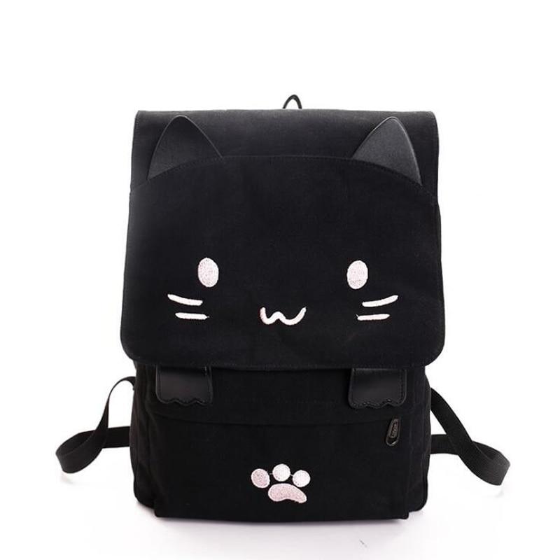 Kawaii Black Kitty Canvas Backpack 1