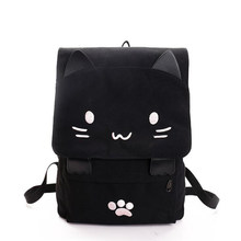 2018 Cute Cat Canvas Backpack Cartoon Embroidery Backpacks For Teenage Girls School Bag Casual Black Printing Rucksack mochilas(China)