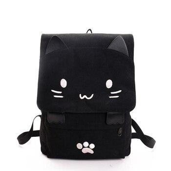 2019 słodkie kot płótnie plecak Cartoon haft plecaki dla nastolatek dziewczyny torba szkolna na co dzień czarny druk plecak mochilas