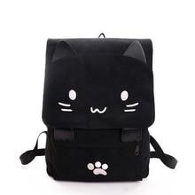 2020 mignon chat toile sac à dos dessin animé broderie sacs à dos pour adolescentes sac décole décontracté noir impression sac à dos mochilas