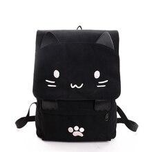 2020 חמוד חתול בד תרמיל קריקטורה רקמת תרמילי בית ספר נערות תיק מזדמן שחור הדפסת תרמיל מוצ ילאס