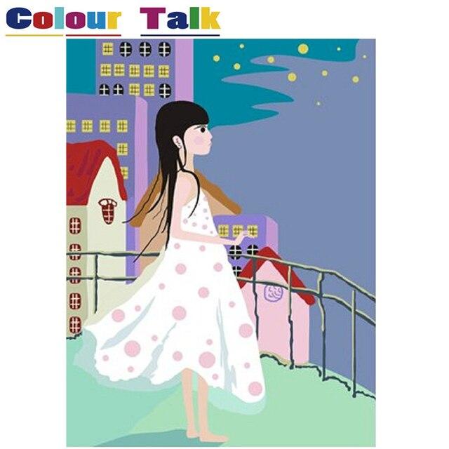 DIY Malerei Durch Zahlinstallationssätze Acryl Bilder Für Wohnzimmer  Wandfarbe Auf Leinwand Ölgemälde Für Wandkunstwerk Mädchen P