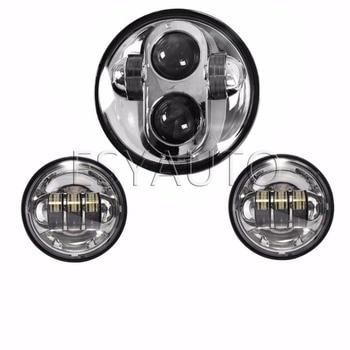 3pcs Silver 5.75'' LED Motorcycle Headlight  6000K Offroad Lamp plus 4.5inch Fog Light