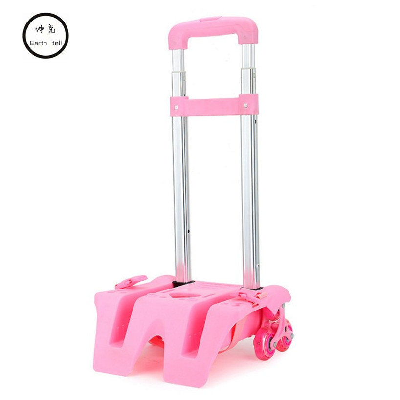 Girls Folding Trolley Rod Bracket Rolling Cart Trolley School Bags Parts Kids Boys Bag Cartoon 2 / 6 wheels Pulling Accessories