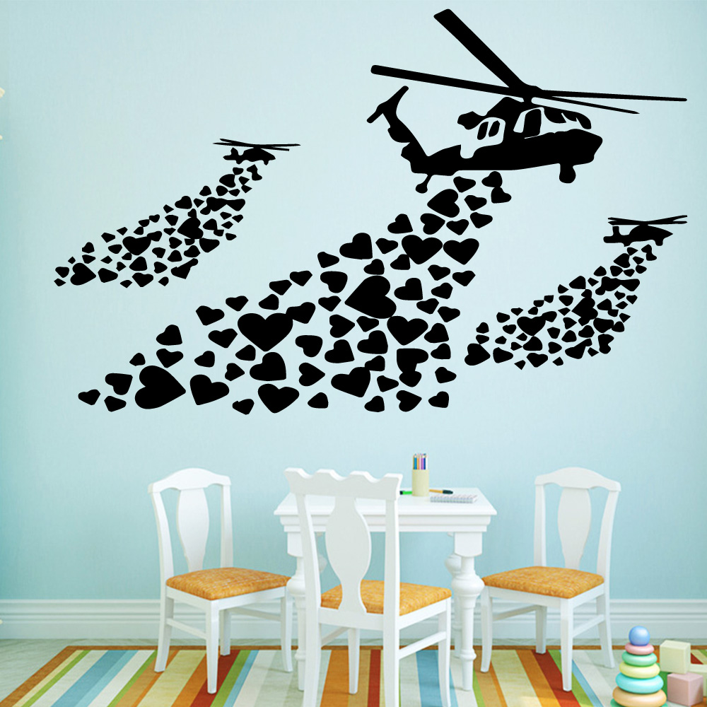 Fashion Banksy Airplan Stickers Self Adhesive Vinyl Wallpaper For Kids Room Living Room Home Decor House Decoration Wallstickers image