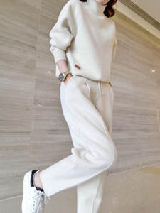Suit Cashmere Knitting Two-Piece Winter Casual Women's Carrot-Pants Autumn And Double-Sided