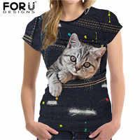 FORUDESIGNS Linda camiseta del gato para las mujeres del estilo de verano de manga corta señoras Top Tees 3D negro Bolsillo de tela vaquera niñas camisetas Ropa Mujer