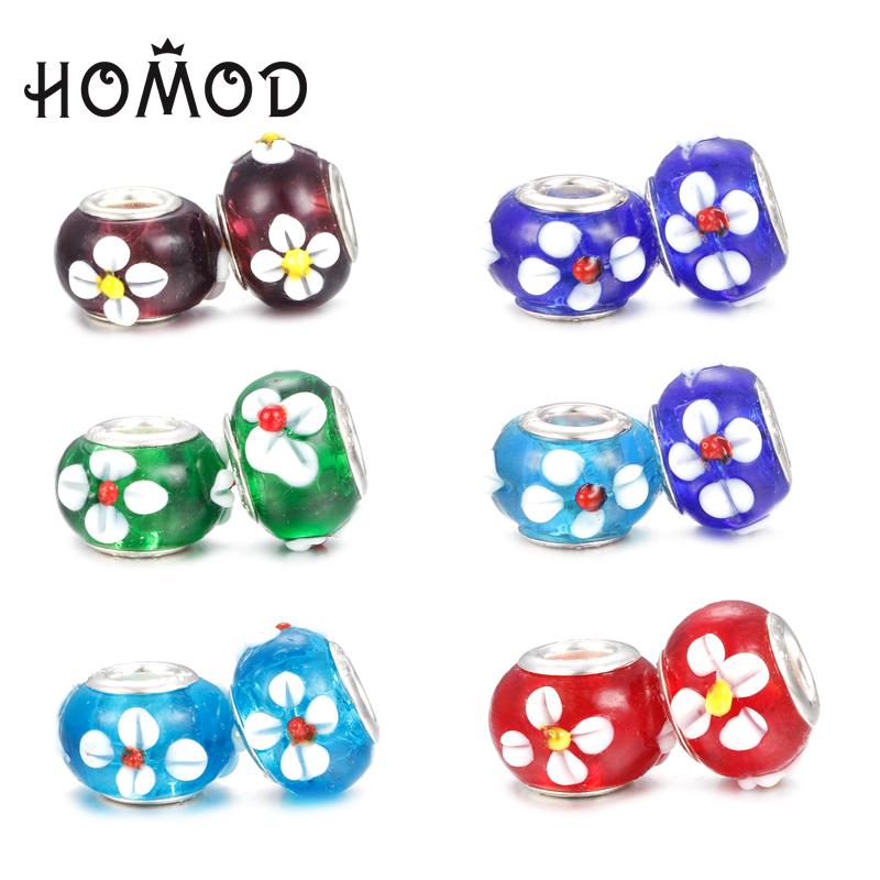Generous Spinner Flower Murano Glass Beads Fit Pandora Charm Bracelet For Women Diy Jewelry Beads High Quality And Inexpensive Jewelry & Accessories