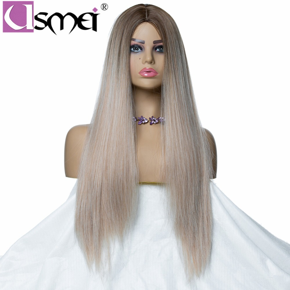 USMEI Long mixed gray straight wig for women synthetic cosplay ombre 130% Density High Temperature fiber fake hair two tone