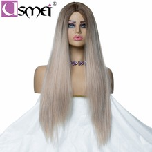 USMEI Long mixed gray straight wig for women synthetic wig cosplay ombre 130% Density High Temperature fiber fake hair two tone