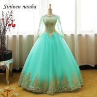 Turquoise Quinceanera Dresses Prom Party Dress Appliques Long Sleeves Dance Ball Gown Vestidos De 15 Anos Sweet 16 Dresses 242