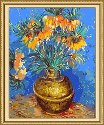 DIY Rahmenlose Bilder Malen Nach Zahlen DIY Digital Ölgemälde Auf Leinwand Decor Färbung Durch Zahlen Van Gogh abstrakte vase