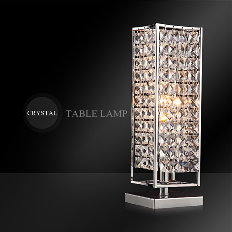 High Grade K9 Clear Crystal Table Lamp Silver Metal Body Modern