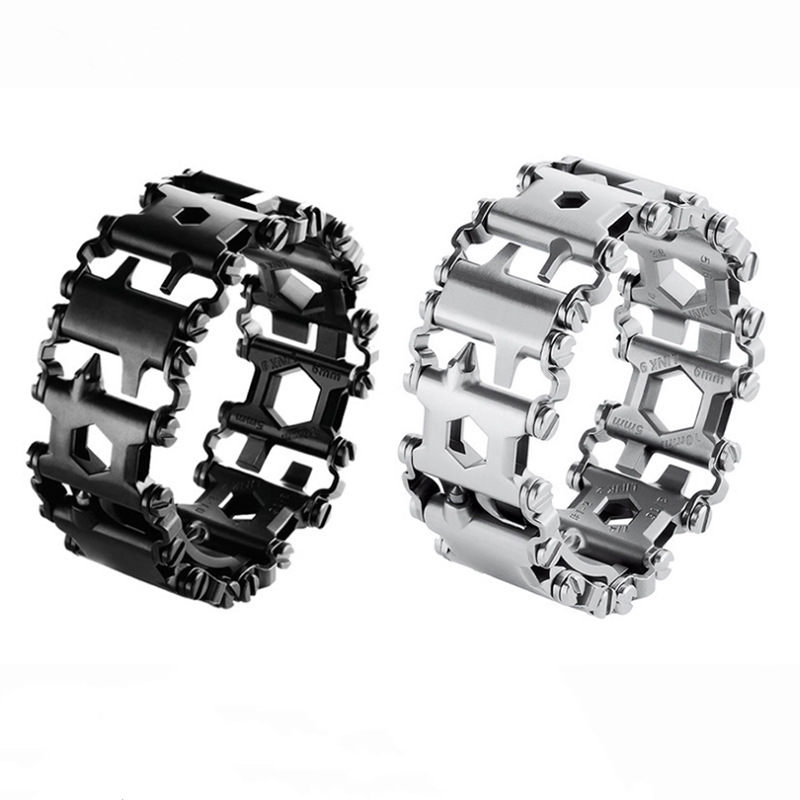 29 in 1 Multifunctional Tread Bracelet Stainless Steel Outdoor Bolt Kits Wearable Tool MultitoolDriver Tools