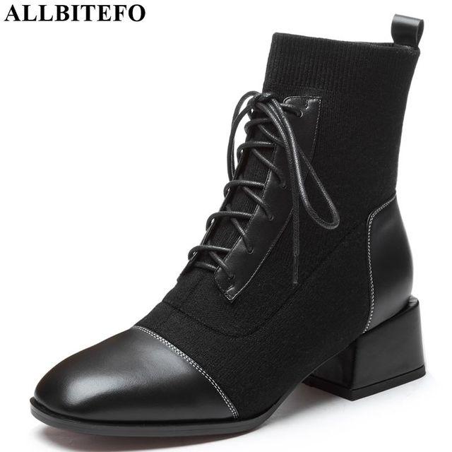 ALLBITEFO/женские ботинки из натуральной кожи и шерсти; удобные Модные ботильоны в Корейском стиле для девочек; сезон осень-зима