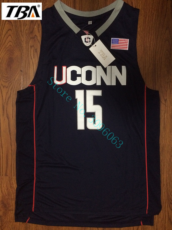 NEW 2017 New Uconn #15 Huskies Kemba Walker Home Black Basketball Jersey For Men Embroidery Logos College basketball Jersey