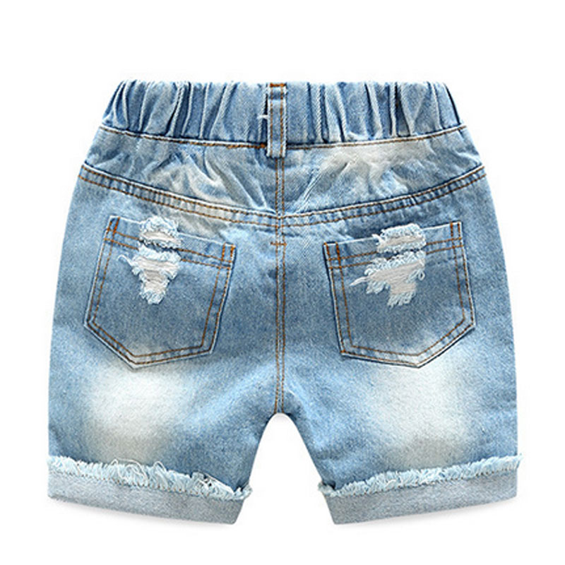 859c34262 Korean Summer Casual Baby Boy Denim Short Pant Fashion Vintage Hole  Children Shorts Jeans Elastic Waist Kid Cowboy Trouser