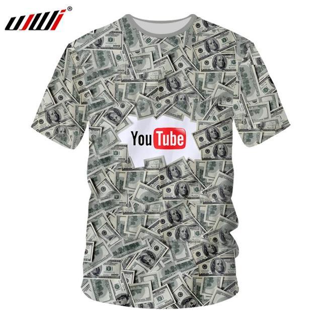 UJWI nueva Harajuku hombres 3d Impresión Digital dólares dinero camisetas  2018 hombre marca ropa manga corta 467aac3f982