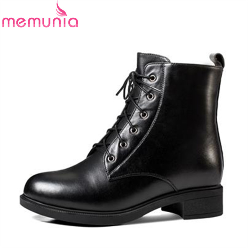 MEMUNIA 2018 fashion arrival genuine leather ankle boots for women round toe warm winter boots fashion med heels shoes womanMEMUNIA 2018 fashion arrival genuine leather ankle boots for women round toe warm winter boots fashion med heels shoes woman
