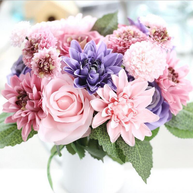 Fall Wedding Flowers List: Artificial Flowers Bouquet 10 Head Rose Dahlia Fall Vivid
