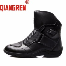 QIANGREN Military Factory-direct Men's Spring Autumn Black Genuine Leather Rubber Motorcycle Boots Outdoors Safety Shoes Botas
