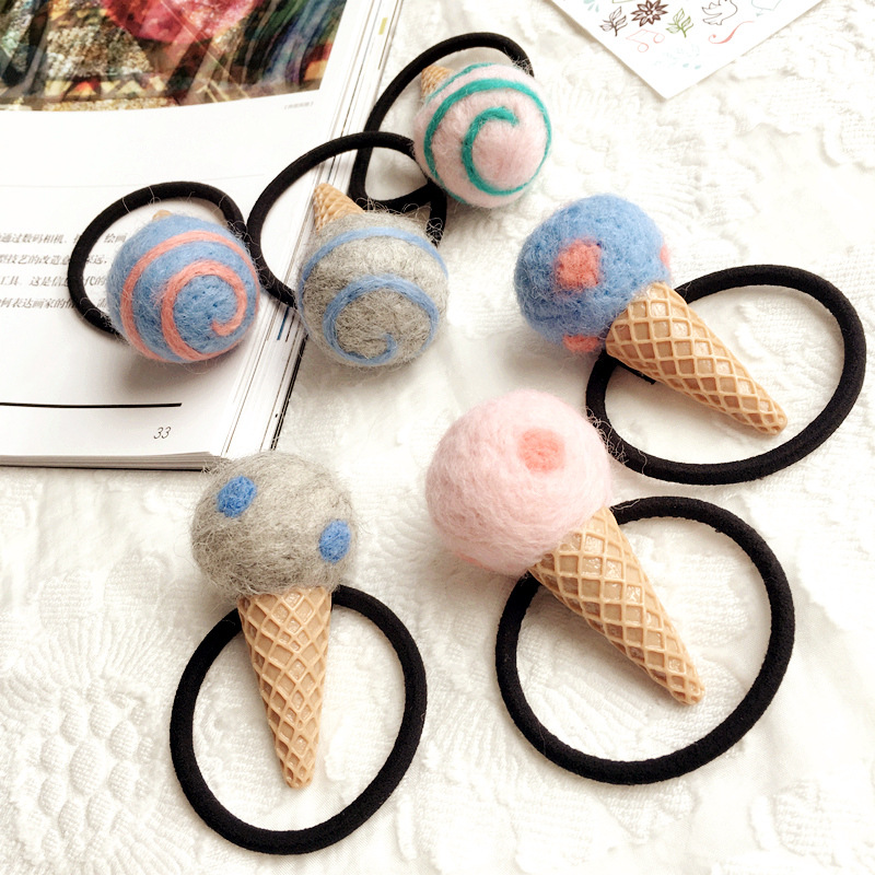 Korea Handmade Cute Cartoon Icecream Children Kids Elastic Hair Bands Girls Headwear Hair Accessories-SWCEHB007D