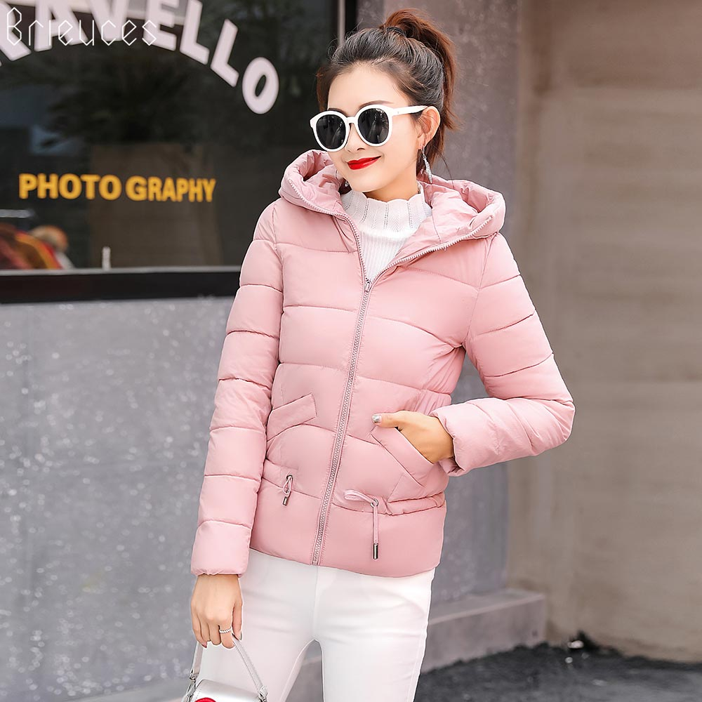 Brieuces 2018 Winter Jacket Women Coat Warm   Parkas   Short Hooded Cotton-padded Coats Solid Color Basic Wadded Jacket Female