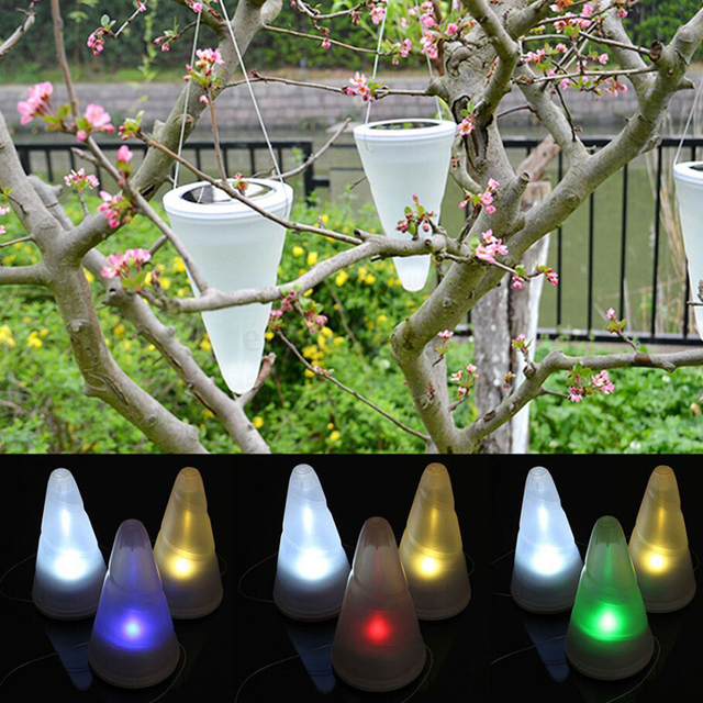 Outdoor Hanging Solar Garden Lights Cornet Shaped Waterproof Hanging Light  For Garden Stree And Festival Ornaments
