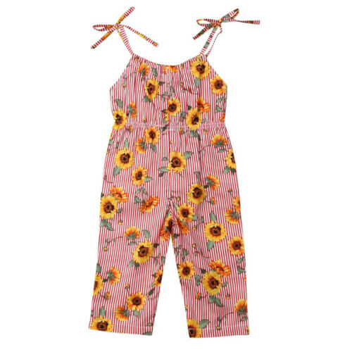 Pudcoco Toddler Baby Girl Sunflower Strap Striped Sleeveless   Romper   Overalls Outfit Clothes 1-6Y