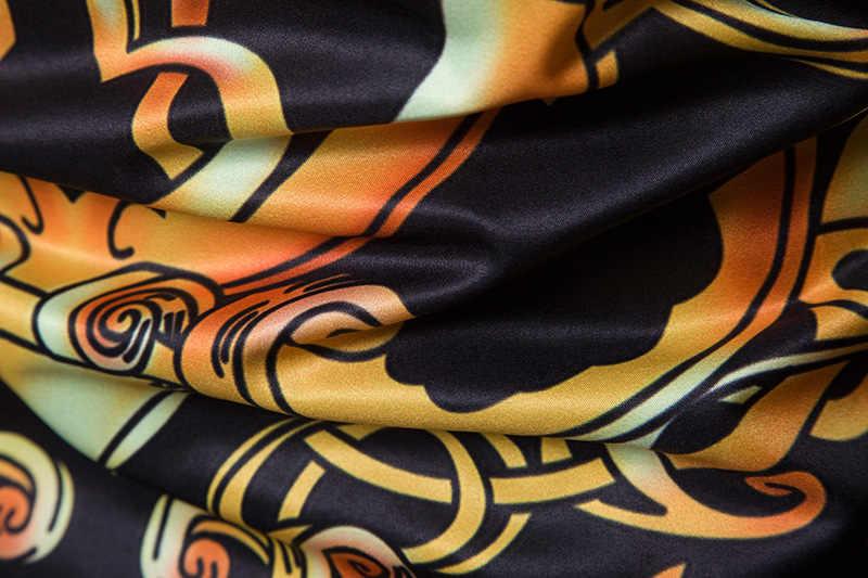 ブランドメンズ長袖高級デザインプリントドレスシャツ2018春新しいファッション男性カジュアルスリムフィットボタンダウンシャツカミーサ