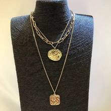 Women Necklace Multi Layers Choker Round Coin Long Necklaces & Pendants Statement Fashion Jewelry Gold-Color Chain Bijoux multi color fashion bk jewelry red rope magnetic 5 layers strands choker statement necklace