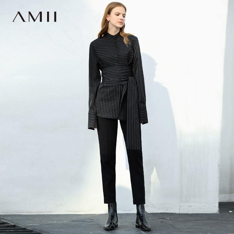Amii Minimalist Women 2019 Autumn Blouse Office Lady High Quality Original Design Stripe with Waist Belt Female Blouses Shirts