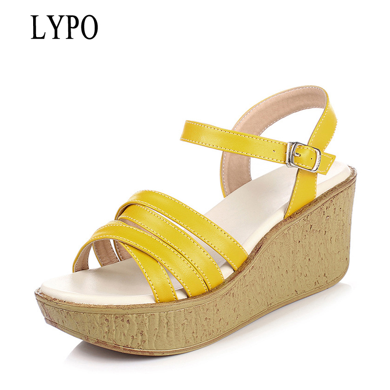 LYPO Dames Platform Sandalen zomer Lederen Open Teen gevlochten - Damesschoenen