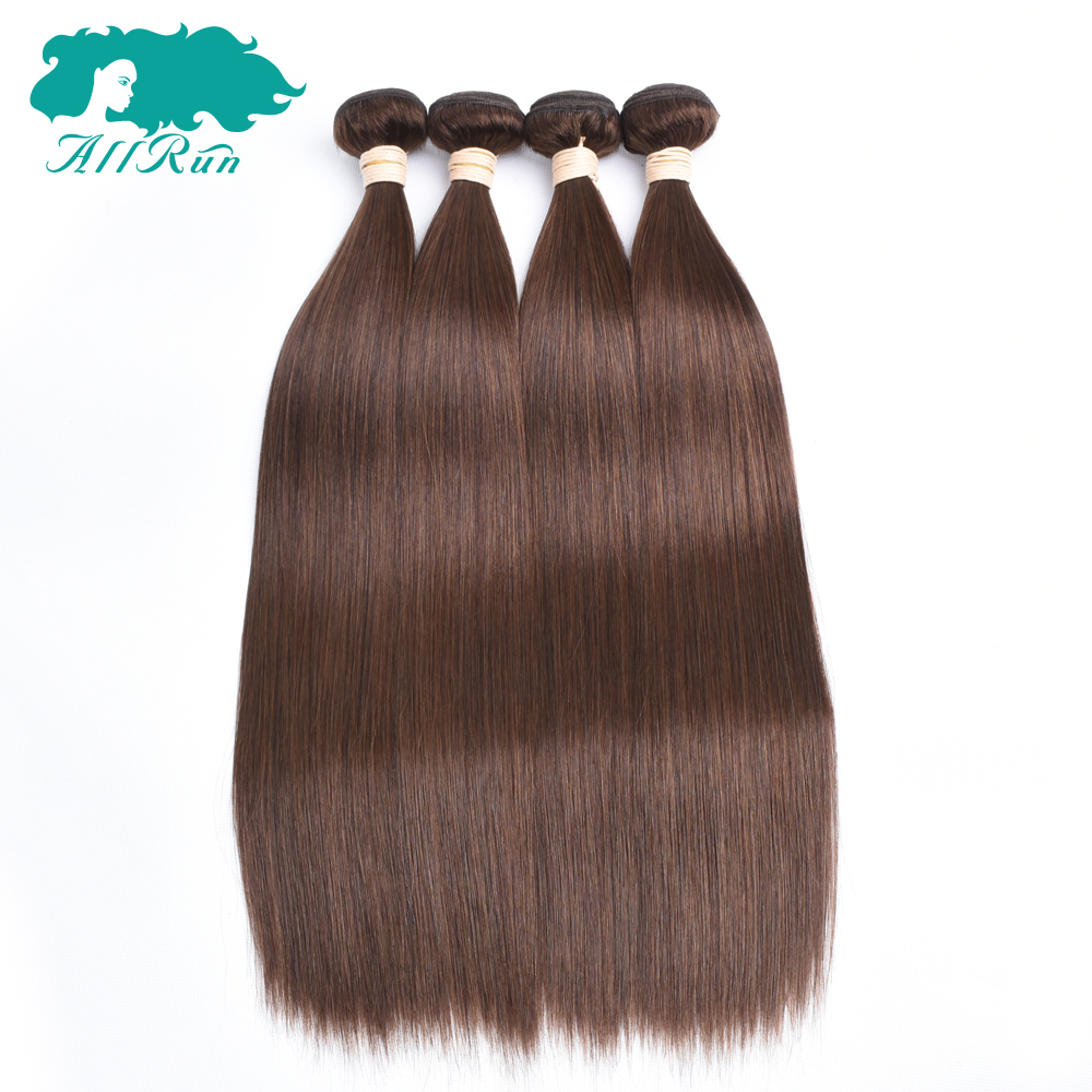 Allrun Pre-Colored Malaysian Straight Hair 4# Light Brown Human Hair Weave Shedding Free Non Remy Hair Bundles Free Shipping