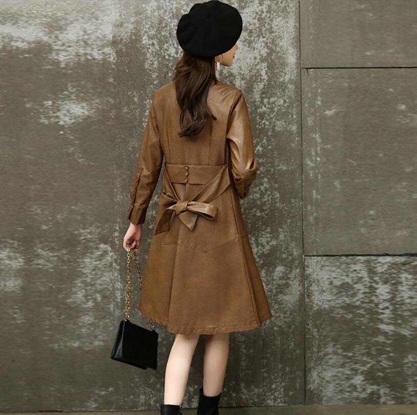 vent Pu m Grande En Manteau Noir Revers Sangle camel Noir Femmes Casual Taille Mode Section Cuir Coupe De Version Coréenne Longue xxl UxfwOqU0
