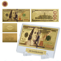 WR New Arrival Usd 100 Gold Banknote Collectible Custom World Paper Money Metal Crafts Birthday Gifts with Showing Stand