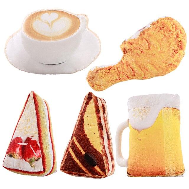 3D Forma de Alimentos Simulação de Pelúcia Travesseiro Criativo Bolo de Café Cerveja Brinquedos de pelúcia Recheado Almofada Do Sofá Decoração Da Casa Presentes Engraçados para crianças