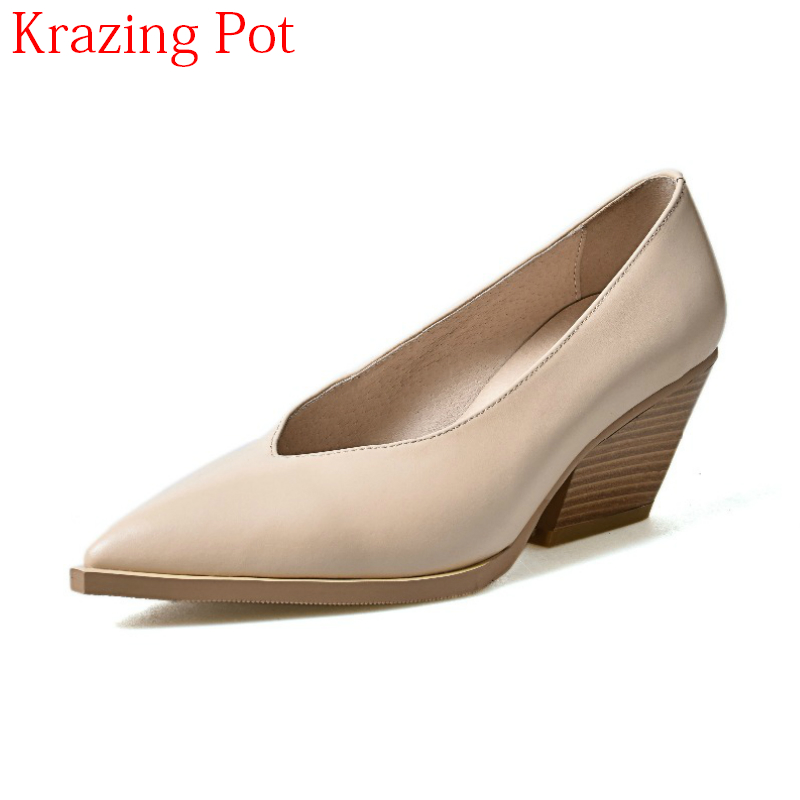 Superstar Pointed Toe Genuine Leather Slip on Spring Shoes High Heels Women Pumps Classics Strange Style Shallow Party Shoes L58 new zapatos mujer ultra high heels embroidery boss lady pointed toe stilettos slip on shallow pumps leather women party shoes